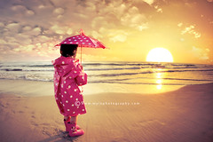 . (mylaphotography) Tags: ocean california sunset sea sun beach clouds umbrella golden child sandiego boots raingear bratanesque mylaphotography editedinlightroom rahislighroompreset