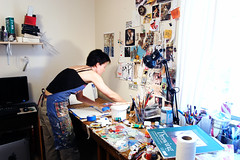 in the studio (galendara) Tags: art studio arms apron artists shoulders artistatwork artstudio artistsstudio artmaking