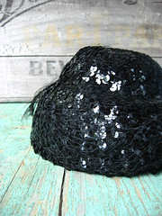 two-tiered sequins cocktail hat
