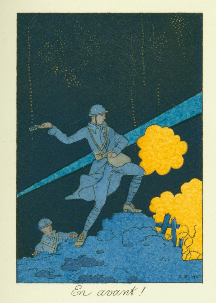 En avant! Early art deco illustration depicting a soldier at the front by George Barbier. For for La Guirlande des Mois, 1916.