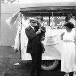 Two views of a milk bar at the ball grounds in Rochester during ''Milk ...