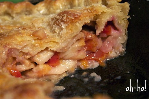 apple plum pie sliced by you.