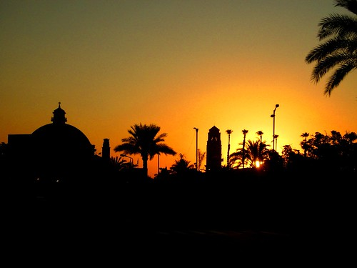 Sunset over Cairo university, Egypt