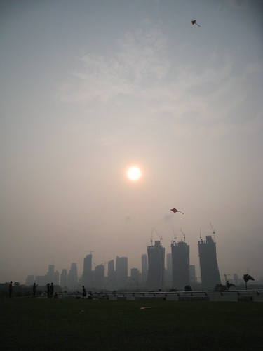 Kite flying at Marina Barrage