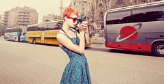 Tourist Friendly (Ibai Acevedo) Tags: barcelona camera city blue red portrait color bus buses girl sunglasses fashion vintage photo cool spain nikon fiesta dress patatas bcn tourist tapas bullfighter le friendly toros postal sagradafamilia vivi tortilla guiri importacin oleole exportacin siesssta