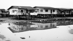 L1026323bw copy (PeinLee) Tags: blackandwhite water monochrome village availablelight air tide low photojournalism malaysia kotakinabalu kampung sabah reportage squatters