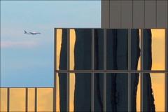 anflug (loop_oh) Tags: reflection germany airplane deutschland mirror fly reflex hessen frankfurt spiegel main bank aeroplane flugzeug reflexion frankfurtammain frankfurtmain roemer reflektion metropole rmer mainhattan flug eintracht frankfurtam