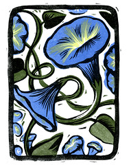 Morning Glory (Kris Wiltse) Tags: morning flowers trees woman cats flower bird beach nature night train cat print woodcuts woods colorful glory bikini figure owl printmaking prints lowtide morningglory yola pheonix blockprints monoprints reductionprint linocuts reliefprints linoleumcuts