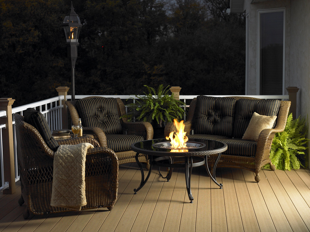 Black Glass Chat Table with Fire Pit