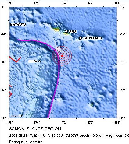 Samoan earthquake epicentre