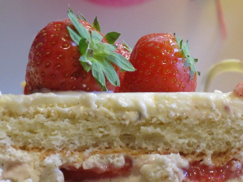 strawberries on cake