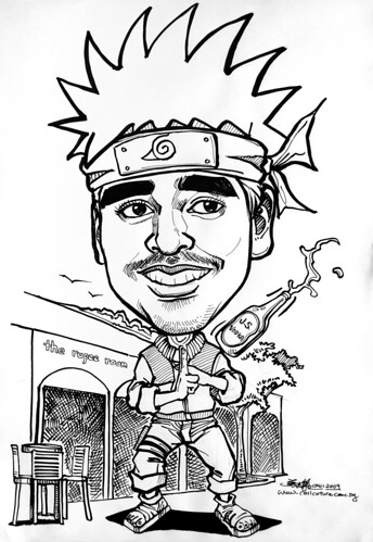 Naruto caricature in ink @ The Rupee Room Clarke Quay Singapore