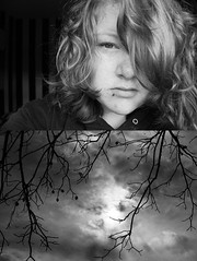 (Bethany Yates) Tags: portrait bw woman cloud sun white black tree me girl beautiful face make up silhouette shirt clouds self hair myself nose eyes women pretty shine sad natural cloudy none miracle no branches young cancer nuts walnuts balls ring curly