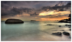 ... peace ... (liewwk - www.liewwkphoto.com) Tags: ocean sea sky seascape beach landscape sand slow wave malaysia shutter melacca  melaka tg tanjung  bidara  tanjung   liewwk bidara