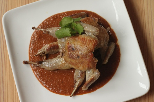 quail with roasted pnut mole