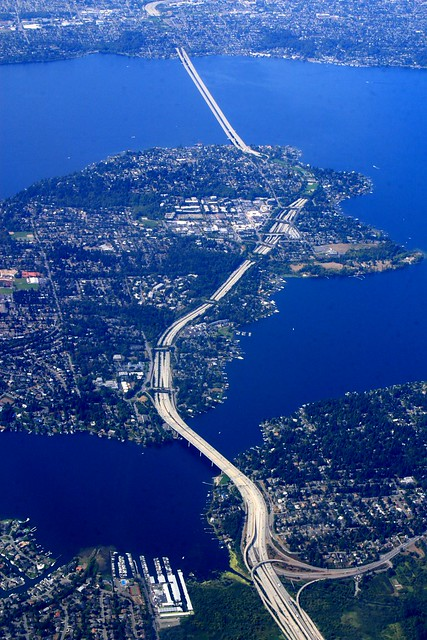 The I-90 Bridge over Mercer Island and Lake Washington toward Seattle