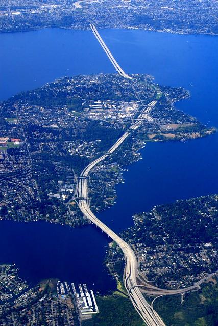 The I-90 Bridge over Mercer Island and Lake Washington toward Seattle