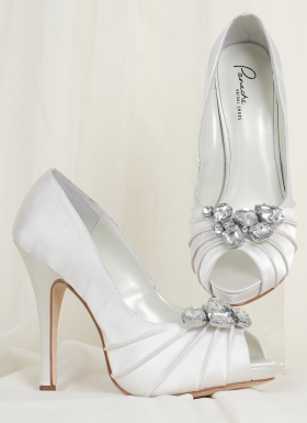 The stones and high heel wedding shoes.
