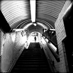 Deptford station (Che-burashka) Tags: urban bw london lamp monochrome silhouette architecture stairs blackwhite tunnel bn trainstation deptford tgif lx3 locallondon urbanlyric