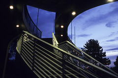 Dusk Session #2: Bridge near the Soccer Stadium of the BVB09, Dortmund (Holger Hill) Tags: bridge blue sky panorama white tree film architecture backlight clouds analog concrete lights nikon october fuji tour 1s