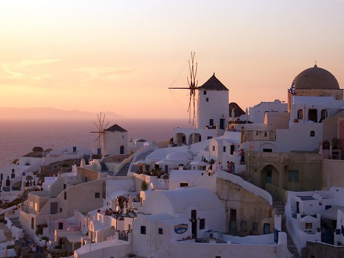 The Sun Setting on Oia in Santorini