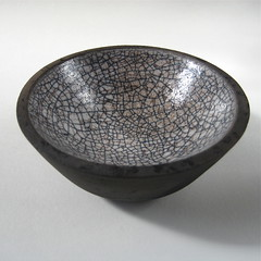 Raku bowl (black and white pool) (Jude Allman) Tags: white black ceramic ceramics handmade crafts craft bowl pot pots jude clay pottery bowls crackle raku folksy allman