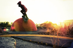 (m.tones) Tags: sunset red sun yellow set vancouver ball d50 lens 50mm nikon skateboarding richmond skate flare dyke