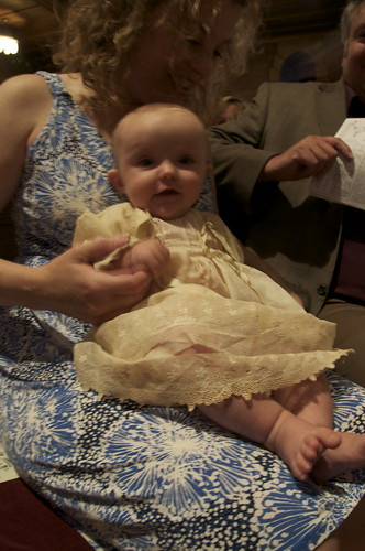 Amelia May in Great Grandmothers christening gown. And sprinkled with Fairy Dust.