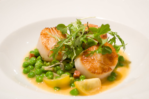 Confit Diver Scallop Edamame Bean Chorizo and Mint Cassoulet