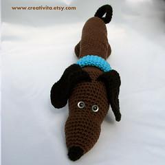 A Dachs hound with blue eyes (Creativita) Tags: dog pet animal canon cozy handmade crochet powershot yarn softie cotton pal amigurumi freind s5 madeinnorway hndarbeid hekle virkad