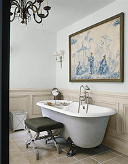Elegant blue + white bathroom + claw-footed tub: 'Light Blue' + 'Old White' by Farrow & Ball (SarahKaron) Tags: blue white house inspiration home painting tile bathroom design paint interior room chandelier decorating bathtub decor clawfoot oldfashioned blueandwhite housebeautiful wainscoting paintcolors colorcombination farrowball simonupton xstool paolomoschino