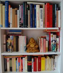 GOLDEN BUDDHA (webjoy) Tags: china art asia buddha religion buddhism books bookshelf figure confucius taoism goldenbuddha confucianism laozi kǒngfūzǐ anhuiprovincechina