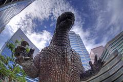 Awakening (tk21hx) Tags: statue japan tokyo sigma fisheye godzilla hibiya hdr toho  sigma15mmf28exdgdiagonalfisheye