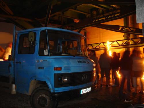 Zweites Chocolat vom LKW unter der Honsellbrücke. Juli 2009