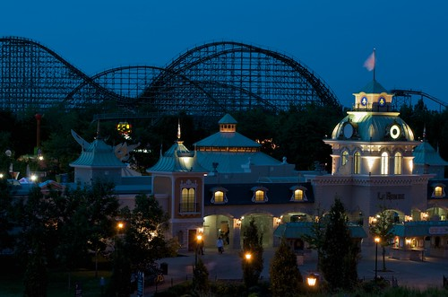 La Ronde (Six Flags) entrance in Montreal during Blue Hour