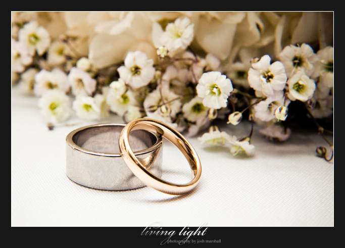 Shot of rings and flowers. Newcastle wedding photography.