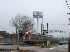 Eastbound Metra commuter local. Elmwood Park Illinois. December 2006.