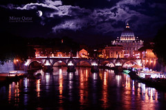 When the night comes. (Missy | Qatar) Tags: bridge moon vatican rome saint nightshot queen angels basilicadisanpietro b3