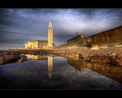 Casablanca Mosque (Grumpysumpy) Tags: travel architecture clouds canon mosque morocco coastline casablanca 30d hassanii sigmalens 1224ex builtoverwater
