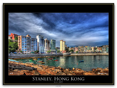 Stanley sky (Pangt.c.k.c) Tags: china city blue light red sea sky tree art colors photoshop canon buildings landscape hongkong eos asia 2009 ef hdr 2470 5dmarkii