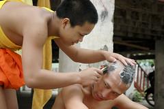Shaving before the big day (- yt -) Tags: monk shave laos luangprabang