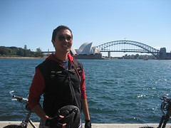 In front of the Opera House and Harbour Bridge