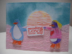 Romantic Sunset - Penguin Style (heather maria) Tags: penguins manmade heroarts clubpenguin brokenchina distressink cuttlebug cl182 treebirdsandmessages k5103 woodgraincircle dvineswirls manweek