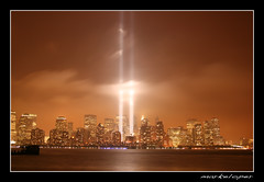 Tribute in Lights (#9) (markeloper photography) Tags: world new york 2001 city nyc skyline night canon river photography eos rebel memorial towers 911 twin center 11 september jersey wtc hudson trade xti markeloper