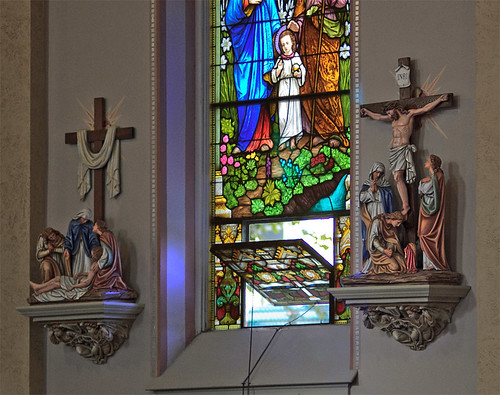 Polychromed Stations of the Cross, at Saint Peter Roman Catholic Church, in Saint Charles, Missouri, USA