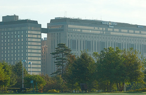 Barnes-Jewish Hospital, as seen from Forest Park, Saint Louis, Missouri, USA
