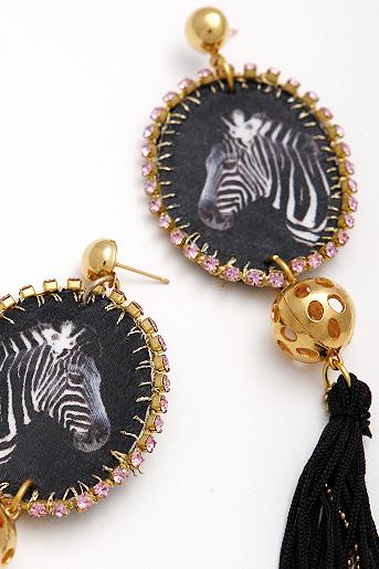sparkling zebra earrings