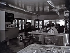 Greyhound Station and Diner (Bodie Bailey) Tags: california bw greyhound history blackwhite losangeles diner 1950s pinball greyhoundbuslines pacificgreyhound