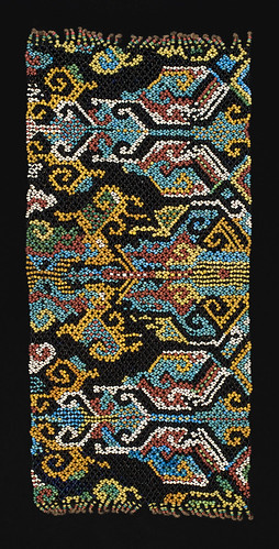 //Bead Panel// from a baby carrier, Bahau people. Borneo 19th century, 40 x 19 cm. From the Teo Family collection, Kuching. Photograph by D Dunlop.