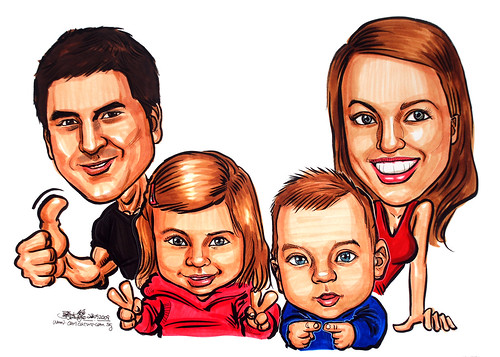 Caucasian family caricatures in colour